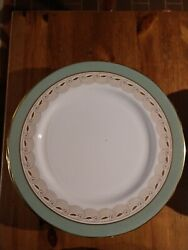 Aynsley Bone China For 8 Minus One Cup And Saucer Rare Pattern Light Green Gold