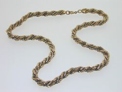 9 Carat Gold Yellow And White Rope Chain Box Link Fancy Unusual 24.8 Grams 16 1/2