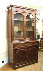 French Antique Louis Philippe Mahogany Bookcase / Cabinet