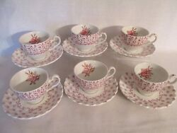 J G Meakin Classic White 6 Cups And Saucers Pink Clovers Center Rose England