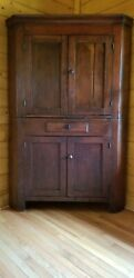 Antique Federal Period Two- Part Cherry Corner Cupboard New England Circa 1820andnbsp