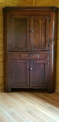 Antique Federal Period Two- Part Cherry Corner Cupboard New England Circa 1820
