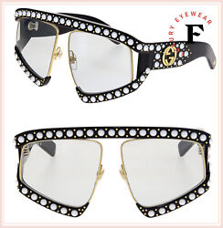 GUCCI HOLLYWOOD FOREVER 0234 Black Pearl Stud Light Blue Sunglasses GG0234