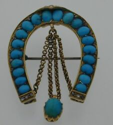 Victorian Antique 14 Ct Turquoise And Diamond Brooch Pin Horseshoe Russian 10.6g