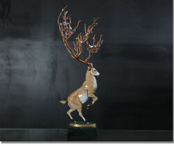Art Deco Sculpture Deer Buck Abstract Tree Horn With Bird Flowers Bronze Statue