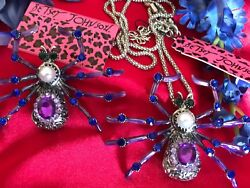 BETSEY JOHNSON PURPLE ENAMEL CRYSTAL BIG SPIDER PENDANT & BROOCH NEW 2 Pcs