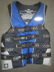 Sea Doo Life Vest Ski Vest Pfd Adult Small 32and039-36 Blue And Silver New Oem H4s