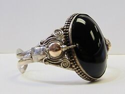 Sterling Silver Black Onyx Cuff Bracelet Wide Large Stone Ornate Ethnic PG