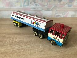 Vintage Red China Mf 188 Friction Tin Toy Sftf Oil Tanker Truck Me Ms Mf-188