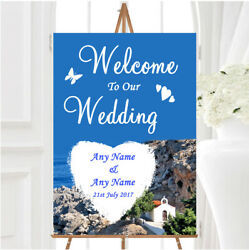 Heart St Pauls Lindos Rhodes Personalised Any Wording Welcome Wedding Sign