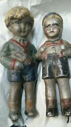 Antique Toy Extremely Rare 19th Century German Painted Metal Figures 2 Boys