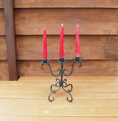 Wrought Iron Candlestick, Vintage Iron Candelabra, Rustic Black Iron Candle Hold