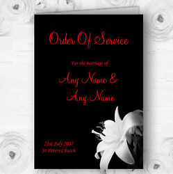 Stunning Lily Flower Black White Red Wedding Double Sided Cover Order Of Service