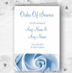 Baby Blue Pale Rose Personalised Wedding Double Sided Cover Order Of Service