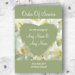 White And Green Calla Lily Personalised Wedding Double Cover Order Of Service