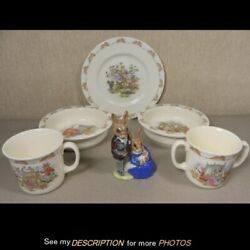 Antique 5pc Lot Bunnykins China Bowls Mugs And Plate And 1 Figure Family Photo