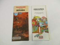 Lot Of 2 Conoco Indiana State Highway And Texaco Indianapolis Road Mapsbox P1