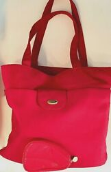 Vintage Christian Dior Extra-Large Red Tote Bag with matching make up case