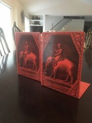 Vintage Fornasetti Milan Milano Italy Red Black Exotic Bookends Elephant Rider