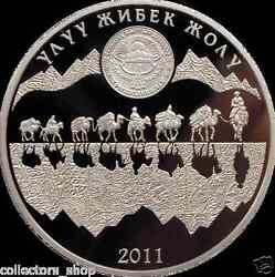 Kyrgyzstan 10 Som Great Silk Road 2011 Gilded Silver Coin Proof Silk Way