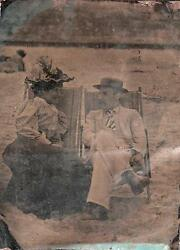 Orig Victorian Tintype / Ferrotype Photograph C1860's Husband And Wife At Seaside