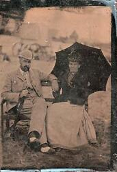 Orig Victorian Tintype / Ferrotype Photograph C1860's Couple At The Seaside