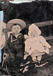 Orig Victorian Tintype / Ferrotype Photograph C1860s Young Boy And Baby Portrait