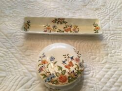 Set Of Two Pieces Of Aynsley Cottage Garden Pattern Fine English Bone China