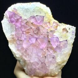 713g Rare Natural Pink/purple Octahedral Fluorite Crystal Based On The Quartz