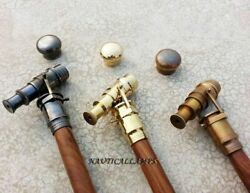 Walking Stick Cane Lot-3 Solid Brass Telescope Handle Antique Vintage Style Gift