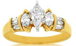 Estate .85ct Diamond 14k Yellow Gold Marquise And Baguette Classic Engagement Ring