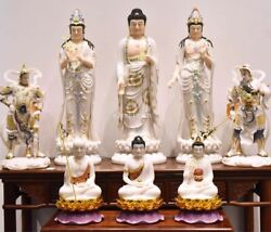 43'' white marble colored drawing set Three Saints of the West buddha Guanyin