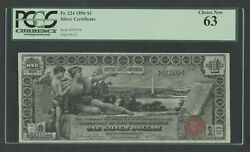Fr224 1 1886 Silver Certificate Education Note Pcgs 63 Choice Unc Wlm8057