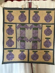 Japanese Kimono And Jar Wall Hanging Quilt With Side Panels Green And Purple