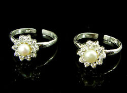 925 Solid Sterling Silver Handmade Pair Of Toe Rings With Cz And Pearl - 1501
