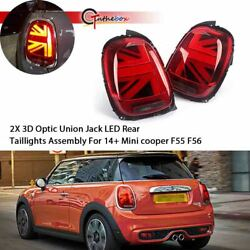 2X Red Union Jack LED Rear Tail Lights Brake Lamps For 14-18 Mini cooper F55 F56