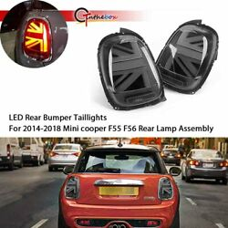 Black Union Jack LED Rear Bumper Tail Lights For 2014-2018 Mini cooper F55 F56