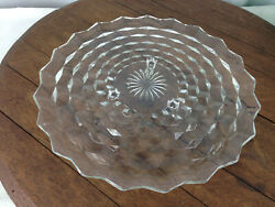Vintage Fostoria American Pattern Footed Glass Cake Plate 12.5 Wh-14