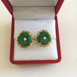 14k Solid Yellow Gold Round Floral Donut Green Jade Earrings - E114