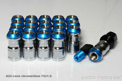 Blue Cone Seat Style Long Nut 20pc + 2 Special Key M12 X 1.5 For Lexus Gsf A24