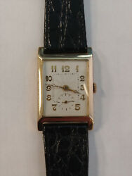 Rare Vintage 1930's Solid 14K Yellow gold GOLAY wristwatch runs and keeps time