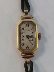 Early Ladies Rolex 18K solid gold 15 jewel watch works and keeps time