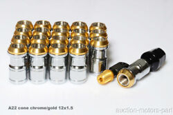 Gold Cone Seat Long Nut 20pc + 2 Special Key M12 X 1.5 For Mitsubishi Evo 10 A22