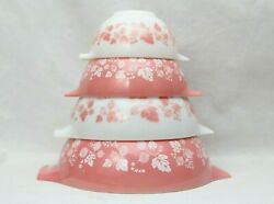 Vintage PYREX Pink Gooseberry Cinderella Mixing Bowl Sets 441 442 443 444 Excell
