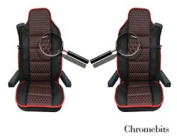 Black Pu Leather And Premium Fabric Luxury Seat Covers For Volvo Fh12 Fh16 Fl Fm