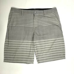 Hang Ten Menand039s Grey And White Stripped Light Shorts Size 36