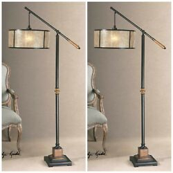 Two Sitka Mid Century Modern Aged Black Metal And Wood Floor Lamp Mica Shade