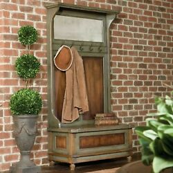 Restoration Farmhouse Inspired 73 Hand Painted Wood Storage Hall Tree Bench