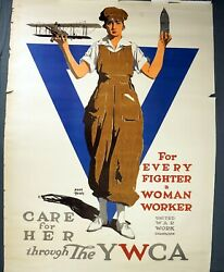 1917 Wwi Original United War Work Campaign For Every Fighter A Woman Worker