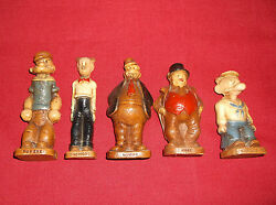 5 Rare 1944 King Features Syroco Statues Popeye Dagwood Barneyjiggsand Wimp